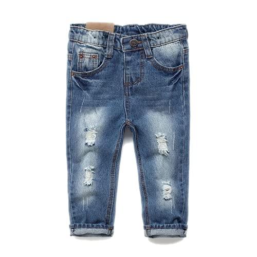 KIDSCOOL SPACE Calça jeans menina menino, pulseira elástica de criança dentro de calças jeans rasgadas,Azul claro, 2-3 Anos