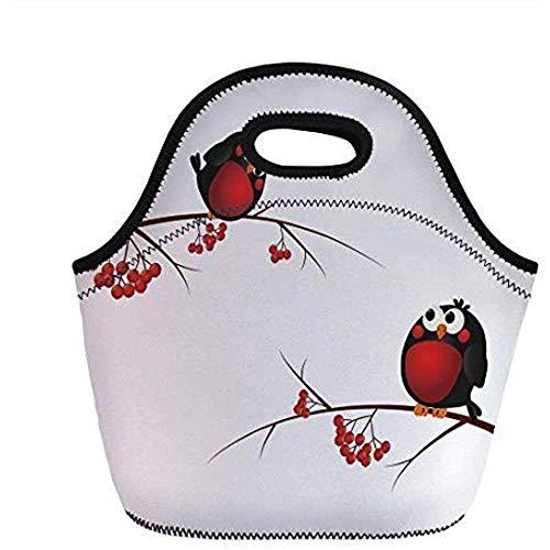 Rowan, Leuke Kinderen Thema Cartoon Stijl Vogels Op Takken Grappig Gelukkig Kerstmis Ontwerp, Rood Zwart Wit, voor Kinderen Volwassen Thermische Geïsoleerde Tassen