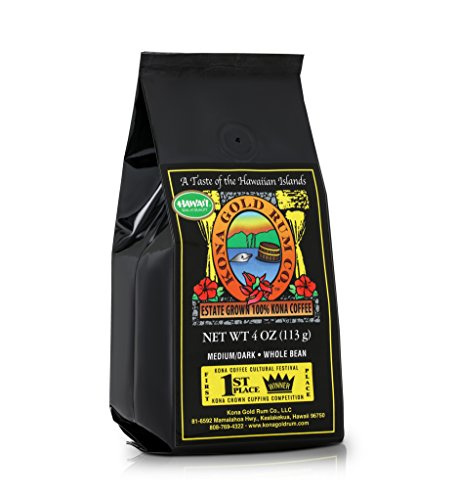 Kona Gold Coffee Whole Beans - 4 oz, by Kona Gold Rum Co. - Medium/Dark Roast Extra Fancy - 100% Kona Coffee