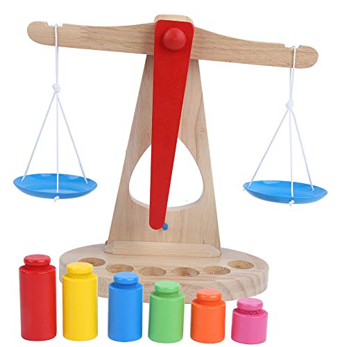 logozoee Diseños de Pesas Coloridas portátiles Balanzas de Madera Libres de contaminación, Madera de Caucho Respetuoso con el Medio Ambiente para la diversión de niños Mayores de 3 años