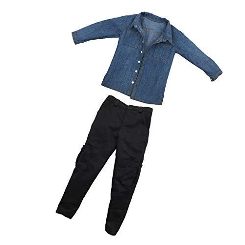 Sharplace 1/6 Conjunto de Ropas Casuales Camisa Vaquera y Pantalones Largos para Figrua de Acción Masculina