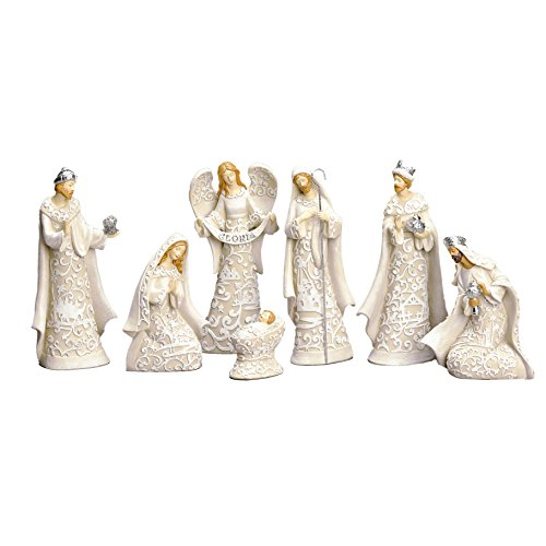 Nativity Sets Exclusive 7-Piece, Features The Holy Family with The 3 Kings and a Gloria Angel, 7.5-Inch