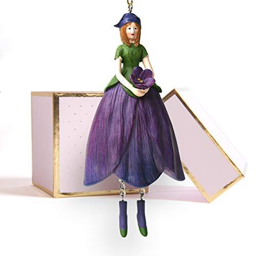 ROSEMARIE SCHULZ Heidelberg Veilchen Blumen Mädchen zum Hängen Flower Fairy Figur Dekofigur Blumenfigur mit Geschenkbox Blumenkinder