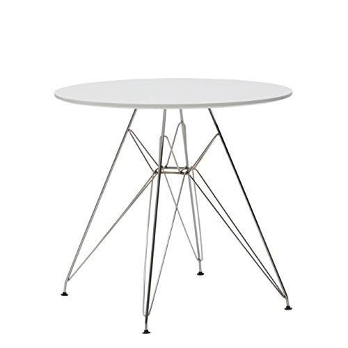 Fashion Commerce 01-LF615 Tavolo Rotondo, Legno, Bianco, 80x80x74 cm, rotonda