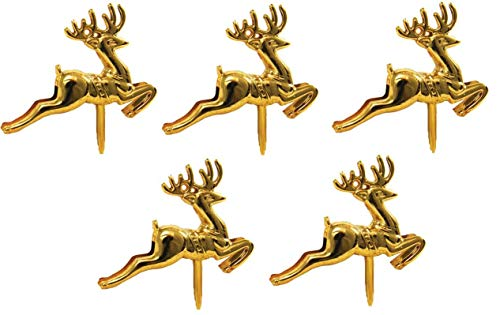 Reindeer Christmas Cake Toppers Merry Decoration 5 x pc Pieces Cupcake Muffin ylog Topper Multi-Purpose Xmas Decoration (5 Gold Reindeer)