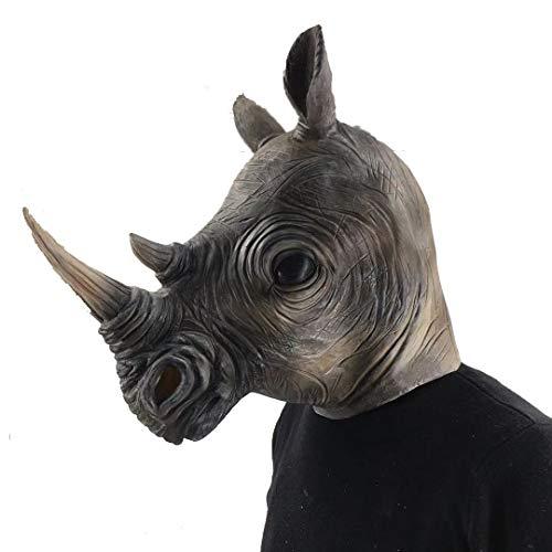 Divertida máscara de látex con cabeza de rinoceronte de animales, Navidad, Halloween, decoración de fiesta