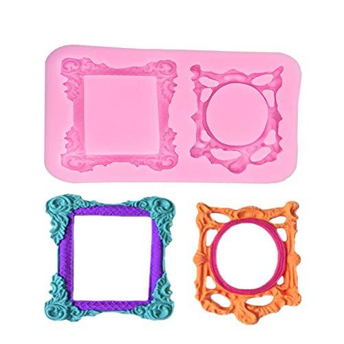N+A DIY Mirror Frame Silicone Mold Retro Pattern Mirror Frame Photo Frame,Cake Chocolate Decoration Mold