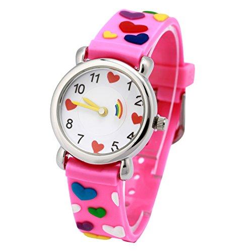Reloj para Niños de Vinmori, Reloj de Cuarzo con Dibujos Animados Bonitos en 3D Resistente al Agua. Regalo para Chicos, Niños y Niñas (Loves Pink)