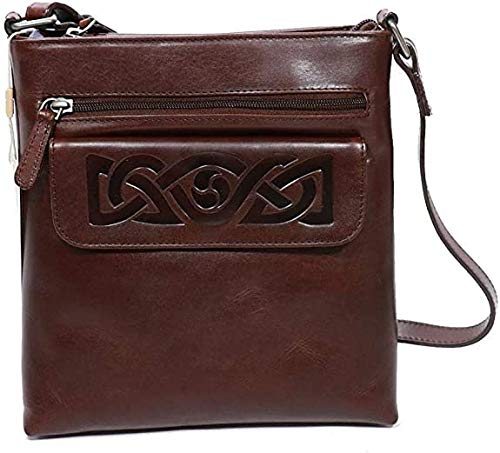 Biddy Murphy Women Hand Bag Crossbody, Leather Embossed Celtic Weave, Brown - Irish Made Premium Leather Goods