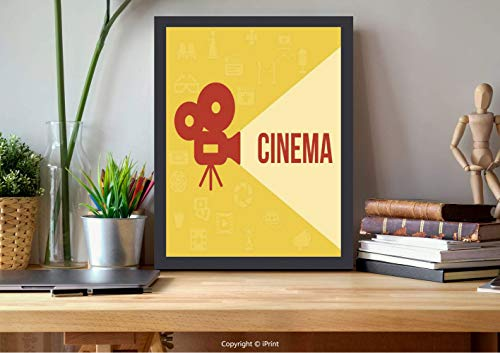 AmorFash №04357 Frame Art Wall,Theater, Projector Silhouette with Cinema Words Background, Dark Coral Beige Yellow, Best for Gifts