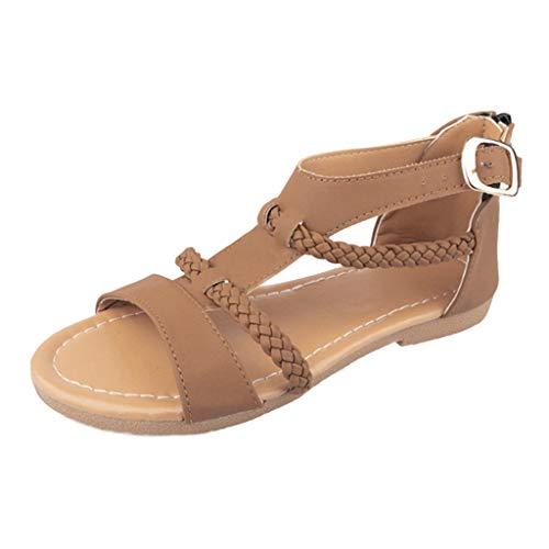 ✿Eaylis Damen Sandalen Mode GroßE GrößE LäSsig Schnalle Gewebt Flachen Boden Sommer Strand Schuhe Hausschuhe Stilvoll und elegant