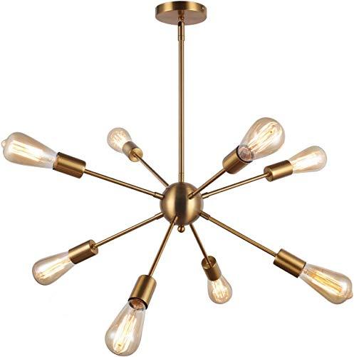Lightsjoy Lámpara de Araña Sputnik Iluminación 8 Luces Lámpara de Metal Lámpara de Techo Moderno para Sala de estar, Dormitorio, Loft, Cafe, Studio (Sin Bombilla) (Oro)