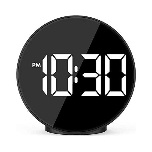 YUYANDE Mini reloj de alarma electrónico LED, con control de sonido Temperatura de control de noche Pequeño reloj despertador Espejo creativo reloj despertador, 12/24HR, snooze, para mesa de dormitori