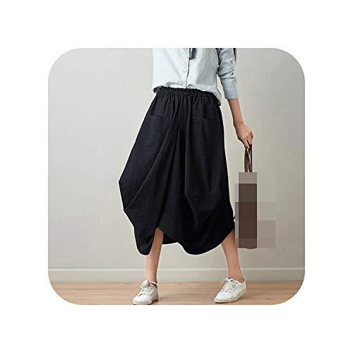 Malcolm12311 Skirt Falda Larga Estilo Arte Vintage Casual Farol Falda Hembra Saia...
