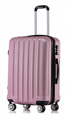 BEIBYE TSA-Schloß 2080 Hangepäck Zwillingsrollen neu Reisekoffer Koffer Trolley Hartschale Set-XL-L-M(Boardcase) (Rosa, L)