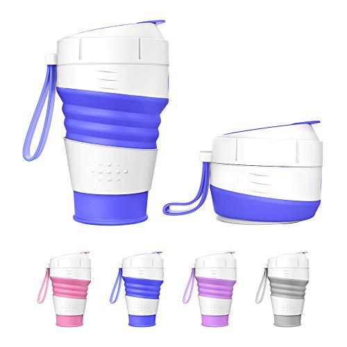 MoKo Botella de Agua Plegable de Silicona, Botella Plegable de Agua Potable 450ML de BPA Libre 100% de Grado Alimenticio Reutilizable para Viajes Deportes y Senderismo - Azul Oscuro