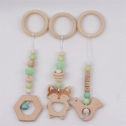 SWECOMZE 3 pezzi di arco da gioco per bambini, giocattolo in legno, sonaglio, attività per bambini, palestra, da appendere al passeggino (verde)