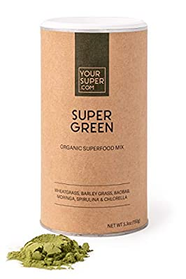 Super Green Superfood Mix by Your Super, Plant Based Immune System Support, Powder Greens Blend, Immunity Support, Essential Vitamins & Minerals, Non-GMO, Organic Ingredients