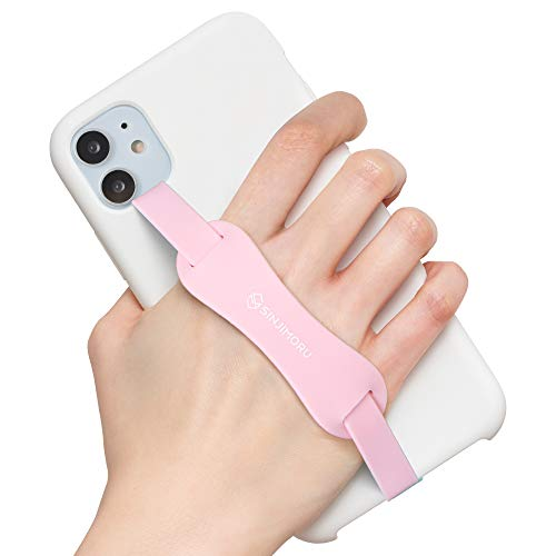 Sinjimoru Universal Silicone Phone Finger Grip, Cell Phone Grip Holder with Stretching Band, for Phone Kickstand on iPhone case. Sinji Grip Stand Pink