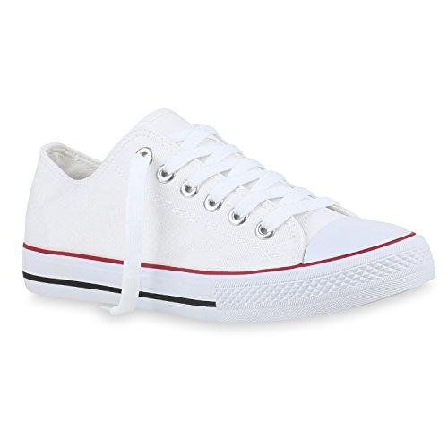 stiefelparadies Herren Schuhe Sneaker High Basic Schnürschuhe Turnschuhe Freizeit Schuhe 155413 Weiss Agueda 45 Flandell