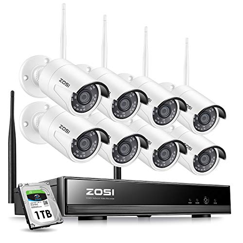ZOSI 8CH 1080P Wireless Security Cameras System With 1TB Hard Drive,H.265+ 8Channel 1080P NVR and 8PCS 1080P 2.0MP Weatherproof Home Video Surveillance WiFi Cameras with Night Vision,Motion Detection