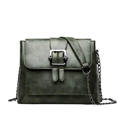 Bucket Bag Borsa a tracolla con tracolla a catena Green W25.5H18.5D9 CM