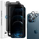 Orzero 2 Pack Privacy Tempered Glass Screen Protector + 2 Pack Flexible Glass Camera Lens Protector Compatible for iPhone 12 Pro, with Alignment Frame 9 Hardness HD Anti-Scratch (Lifetime Replacement)