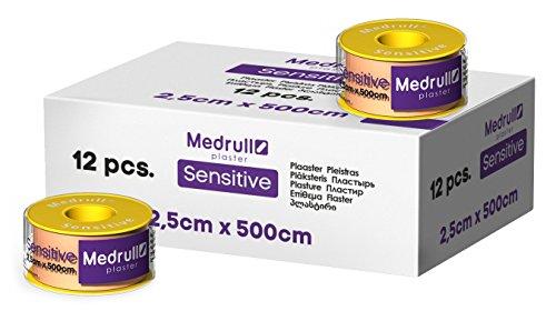 Medrull Sensitiv Pflaster Rolle 5 m x 2,5 cm Fixierpflaster 12 Stück