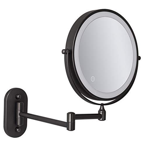 ZJBB Espejo Maquillaje Pared Extensible Negro, Espejo Aumento con Luz x10, Rotación 360° y Extensible Espejo de Baño Espejo Cosmético Recargable USB, Pantalla Táctil Ajustable de Brillo10X