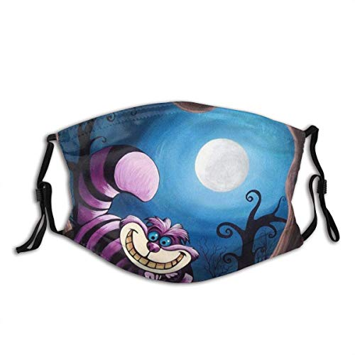 P PIPIGOU Face Cover Smiling Cheshire Cat Poster by Jacqueline Brodie Welan Balaclava Unisex Reusable Windproof AntiDust Mouth Bandanas Outdoor Camping Motorcycle Running Neck Gaiter with 2 Filters