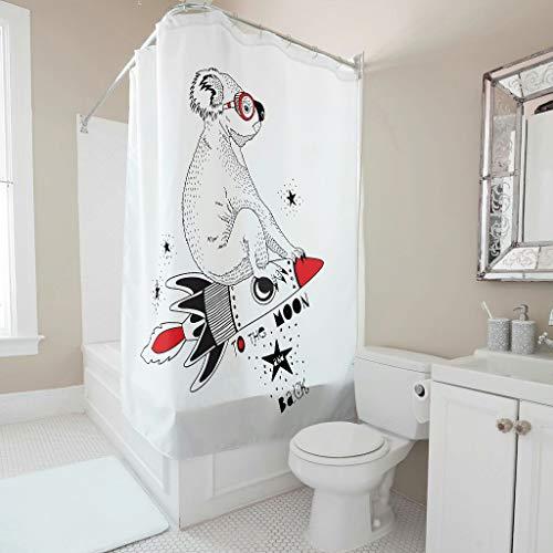 Niersensea Koala zum Mond & zurück Duschvorhänge Bad Gardinen Bedruckt Badezimmer Vorhang Stoff Badvorhänge mit Duschvorhangringe White 180x200cm