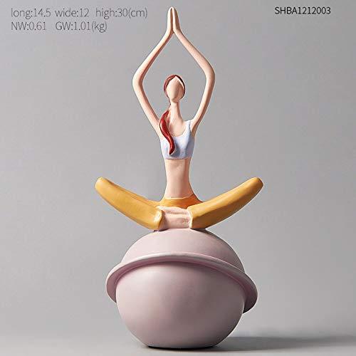 SJIUH Estatua de la Escultura,Scandinavian Yoga Figurine Sculpture Girl Desk Decorations Nordic Statue Modern Art Statuette Living Room Desktop Accessories,Height 30cm