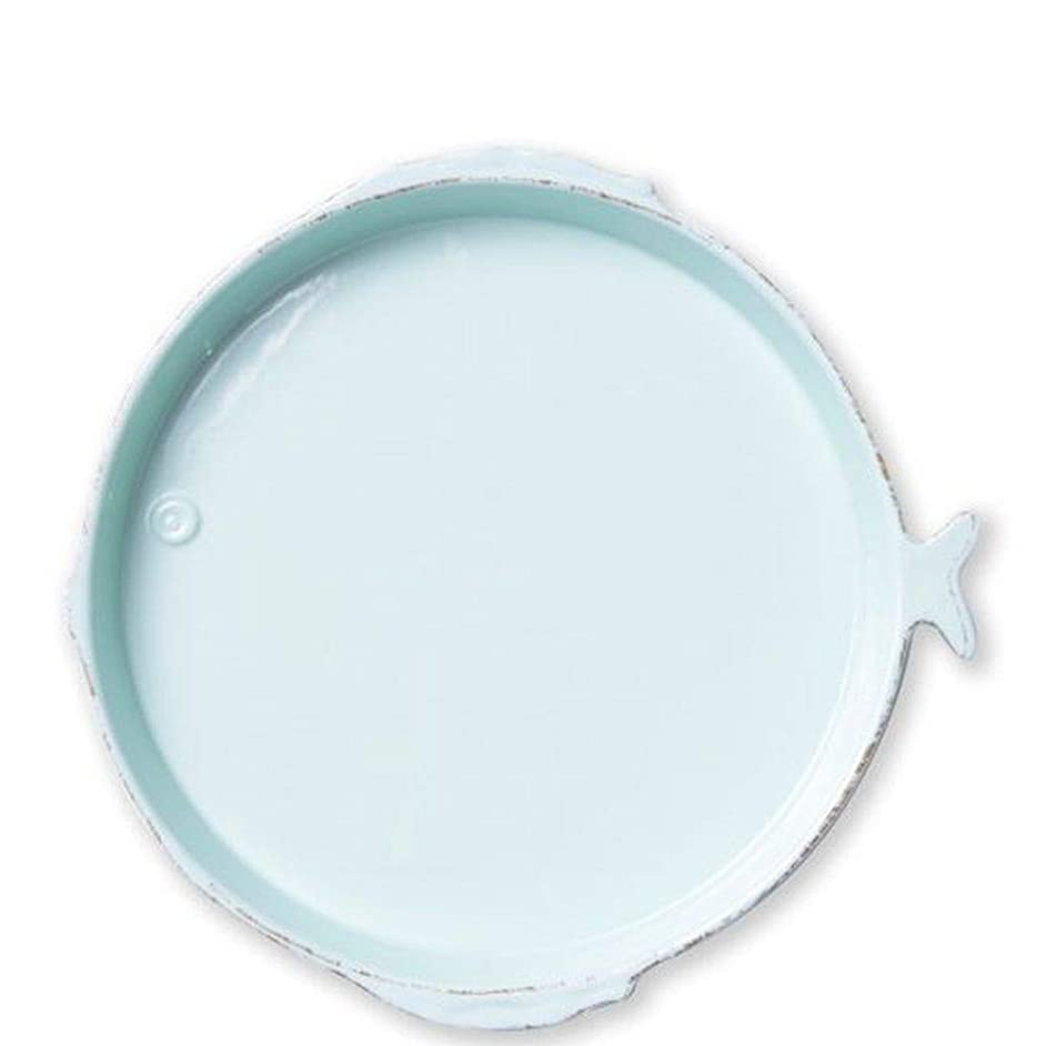 Vietri Melamine Lastra Fish Aqua Round Platter