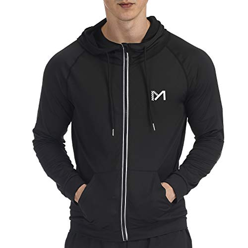Running Jacket for Men, Long Sleeves Track Top Full Zip Hoddie Quick Dry Reflective Sports Fitness Workout Gym Athletic Active Jacket (Black, Medium)