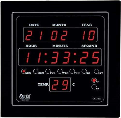 Ajanta Quartz Digital Red LED Sqare Wall Clock OLC - 302 (25.4 cm x 25.4 cm x 3.5 cm)