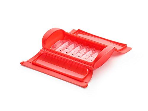 Lékué - Estuche de vapor con bandeja, 1-2 personas, color rojo