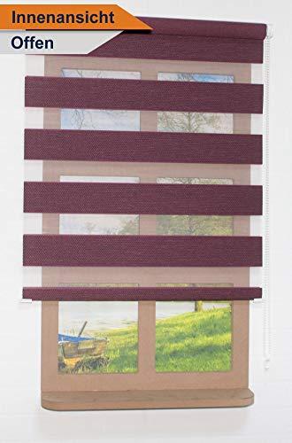Fensterrollo – Doppelrollo – Duo, Weinrot Farbe, 45-60-75-90-120cm Breite Mit unterschiedlichen Befestigungmöglichkeiten - 4024 (90 x 220 cm)