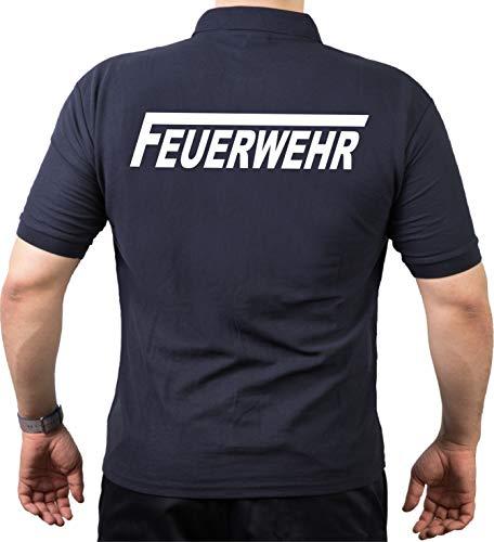 feuer1 Polo-Shirt FEUERWEHR mit langem F - weisser beidseitiger Schriftzug