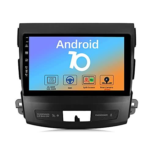 JOYX Android 10 Autoradio para Mitsubishi Outlander (2005-2015) - [2G+32G] - Gratis Cámara - 9 Pulgada - 2 DIN - 2.5D Pantalla - Apoyo Dab 4G WLAN Bluetooth5.0 Carplay Volante Android Auto Mirrorlink