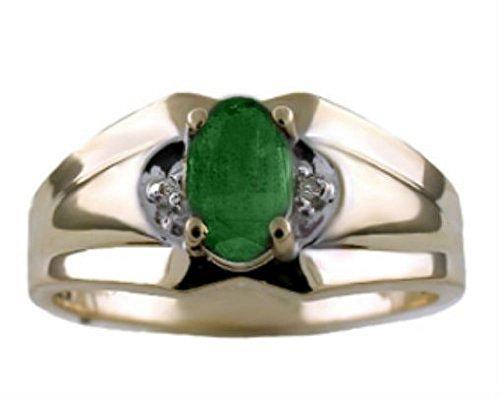 Para hombre verde esmeralda y diamante anillo 14K oro amarillo banda