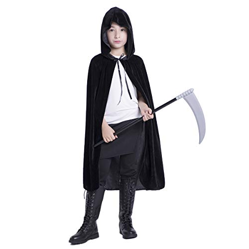 Huntforgold Umhang mit Kapuze Lange Samt Cape für Halloween Karneval Fasching Vampir Kostüm(60-170cm)