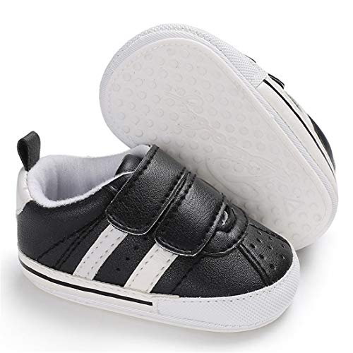 E-FAK Baby Boys Girls Shoes Non-Slip Rubber Sole Infant Toddler Sneakers Crib First Walker Shoes(0-18 Months)(12-18 Months Infant,A/Black)