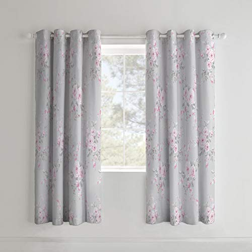 Catherine Lansfield Canterbury Ösenvorhang, Polybaumwolle, grau, Eyelet Curtains-66x72 Inch