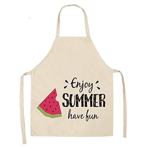 JJFU Schort Koken Schort 1 Stks Watermeloen Letter Bedrukte Keuken Aprons 53 * 65Cm Unisex Thuis Koken Bakken Shop Katoen Linnen Schoonmaken Bibs 2WQ-WQL0010-5