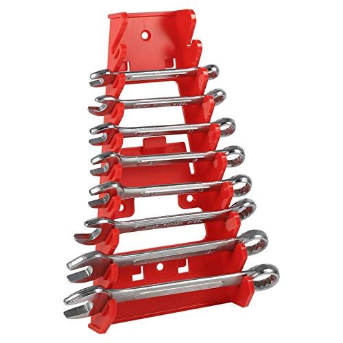 Organizador de llaves, organizador de almacenamiento de herramientas, 9 ranuras, estante de plástico rojo para llaves, organizador estándar, soporte para almacenamiento de llaves, guardián