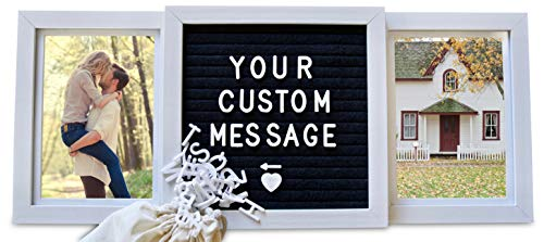 Personalized Picture Frame (Standard, White) - Custom/Personalized Frame with Genuine Felt Letterboard- Best Friends Frame - Custom 6x4 in. Personalized Two Picture Frame