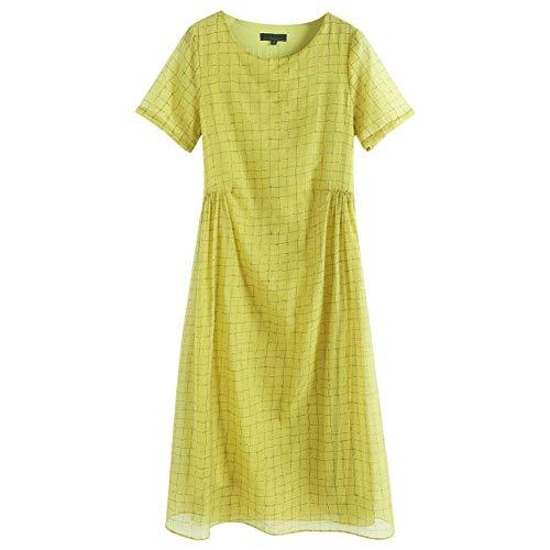 BINGQZ Cocktail Jurken Zijde jurk vrouwelijke zomer temperament dames losse grote maat lange plaid gele rok