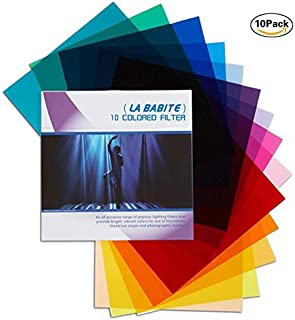 La Babite 11 x 8.7-Inches Pack of 10 Colored Overlays Transparency Color Film Plastic Sheets Correction Gel Light Filter Sheet,10