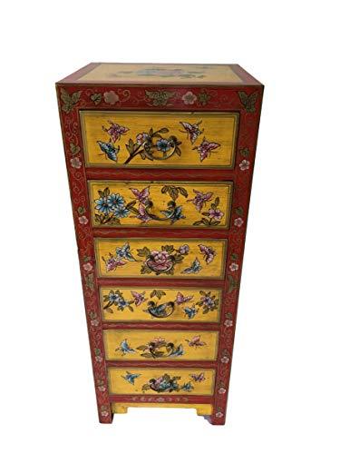 Antik Chinesischer Schrank Kommode Sideboard Chinakommode Chinasidebord Tibet Asiatika Asien Kabinetschrank 6 Schubladen China Breite45xHöhe115cm