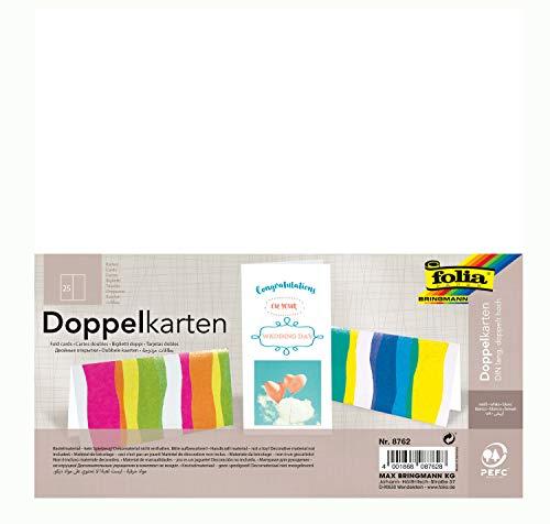 Folia 8762 - briefkaarten wit, DIN lang, dubbel hoog 25 stuks - dubbele kaarten voor het creatieve vormgeven van uitnodigingen, wenskaarten